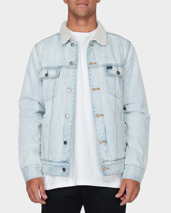 RVCA Mens Daggers Denim Sherpa Jacket - Front