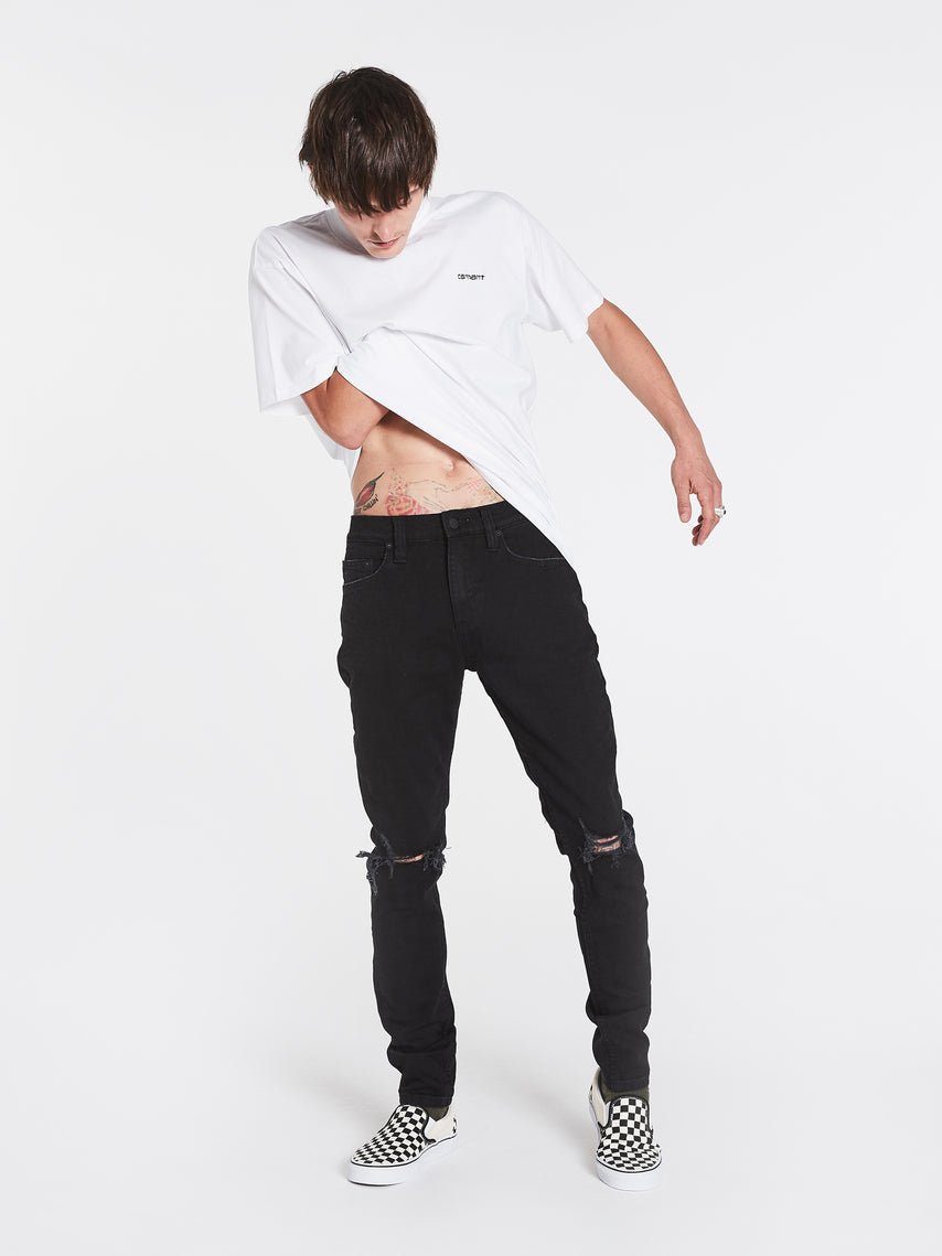 Rollas Stinger Jeans- Black Rip