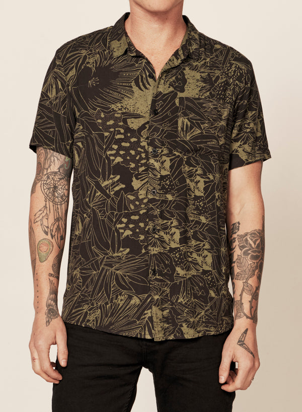 Rollas Mens Bon Monstera SS Shirt - Front