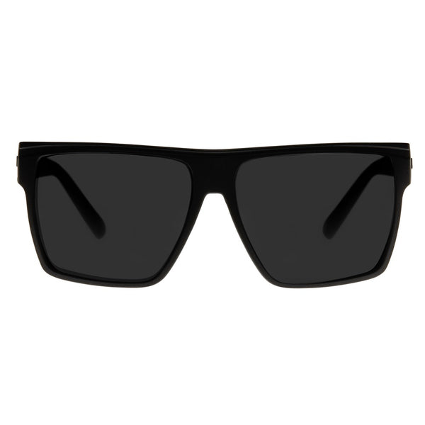 Le Specs Dirty Magic Sunnies- Black Rubber/Silver Mirror - Front