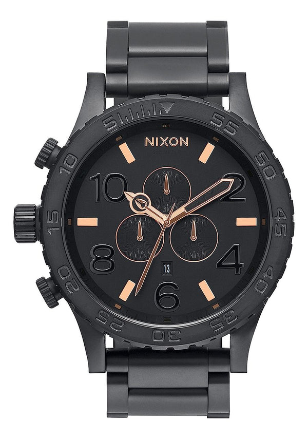 Nixon 51-30 Chrono- All Black/Rose Gold - Front