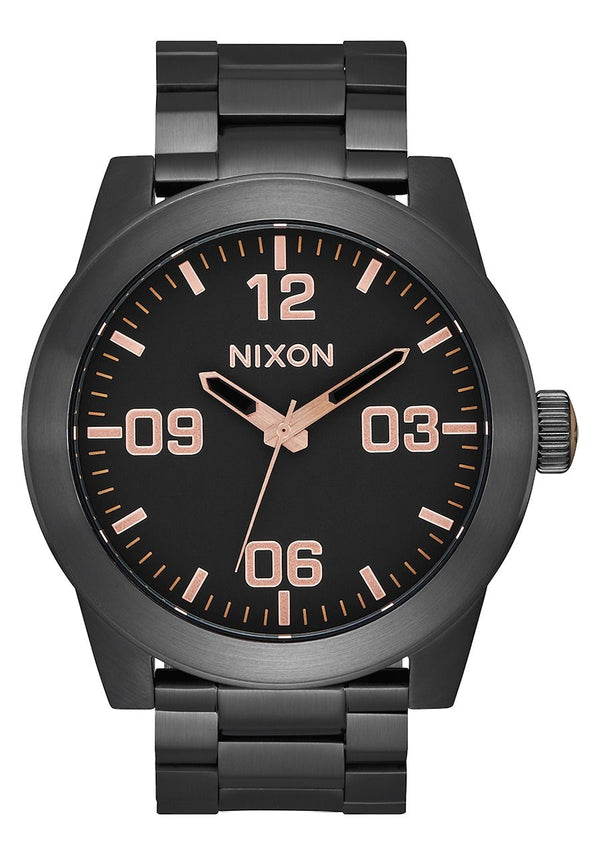 Nixon Corporal SS- All Black/Rose Gold - Front