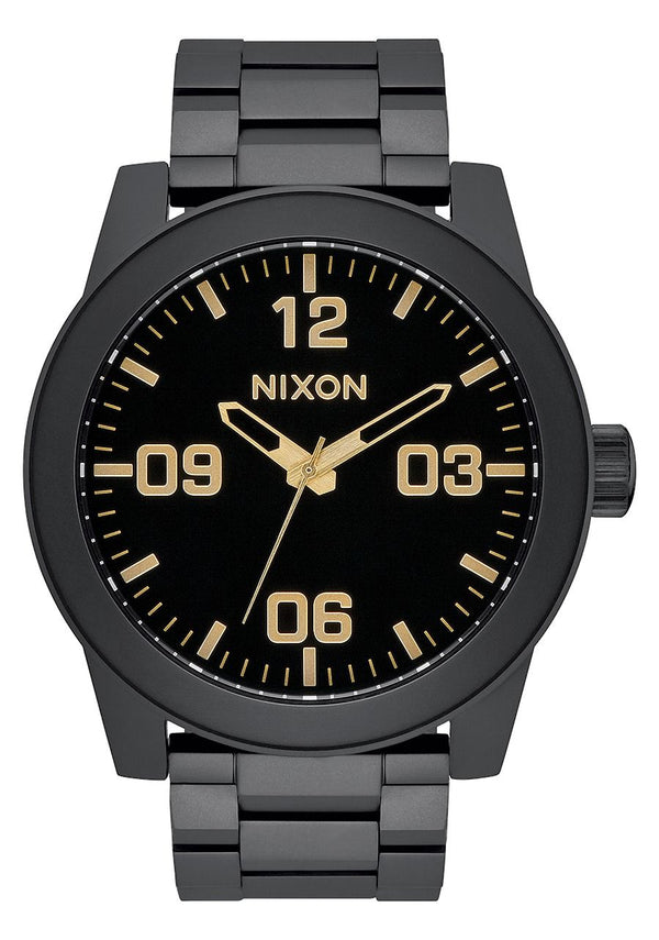 Nixon Corporal SS Watch- Matte Black/Gold - Front