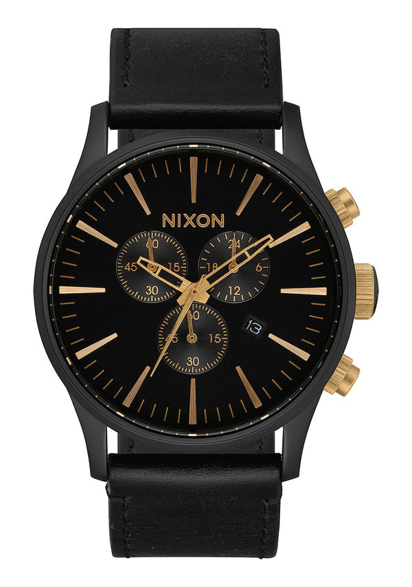 Nixon Sentry Chrono Leather- Matte Black/Gold/Black - Front