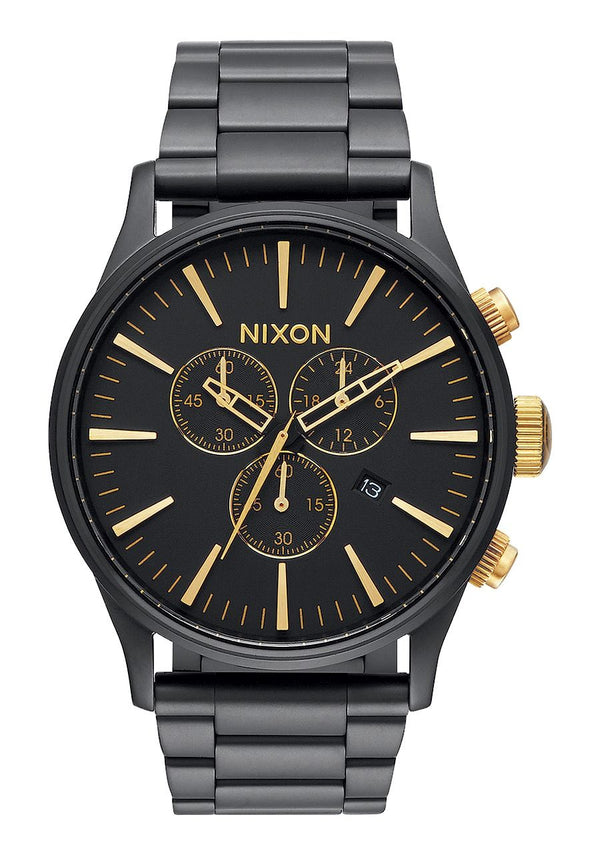 Nixon Sentry Chrono- Matte Black/Gold - Front
