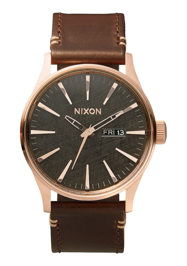 Nixon Sentry Leather- Rose Gold/Gunmetal/Brown - Front