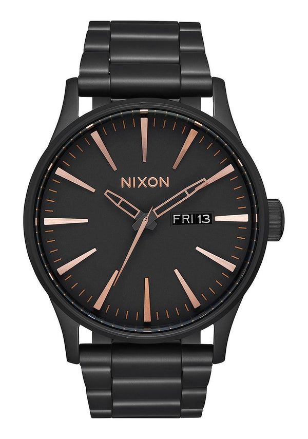 Nixon Sentry SS- All Black/Rose Gold - Front
