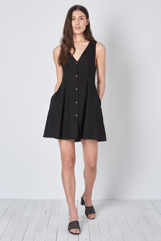 Rollas Linen Milla Dress- Black