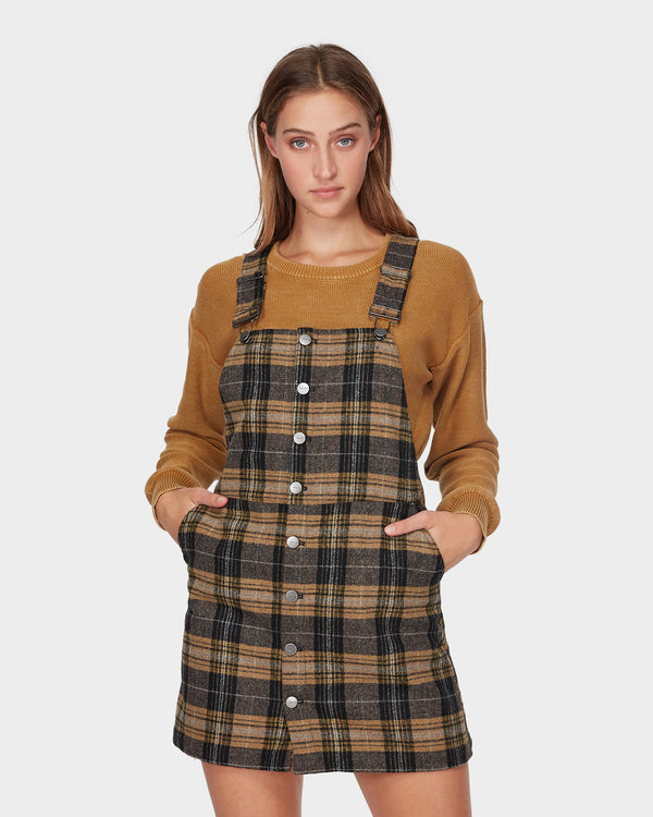 RVCA Ladies Woolies Plaid Pinny Dress - Front