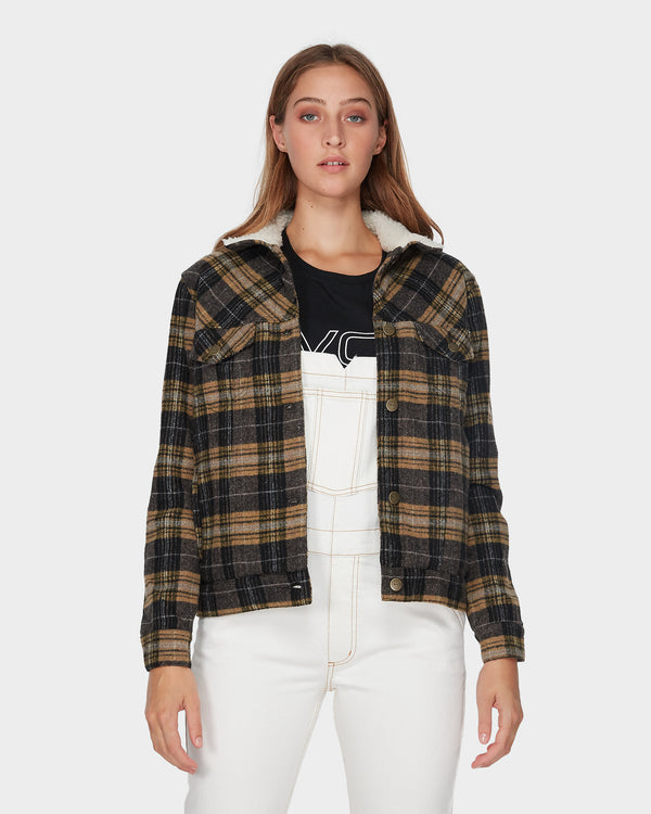 RVCA Ladies Plaid Merc Jacket - Front