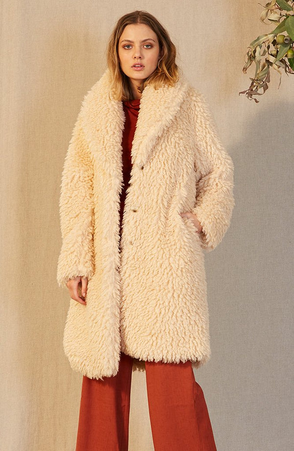 Staple Ladies Aries Faux Fur Jacket - Front