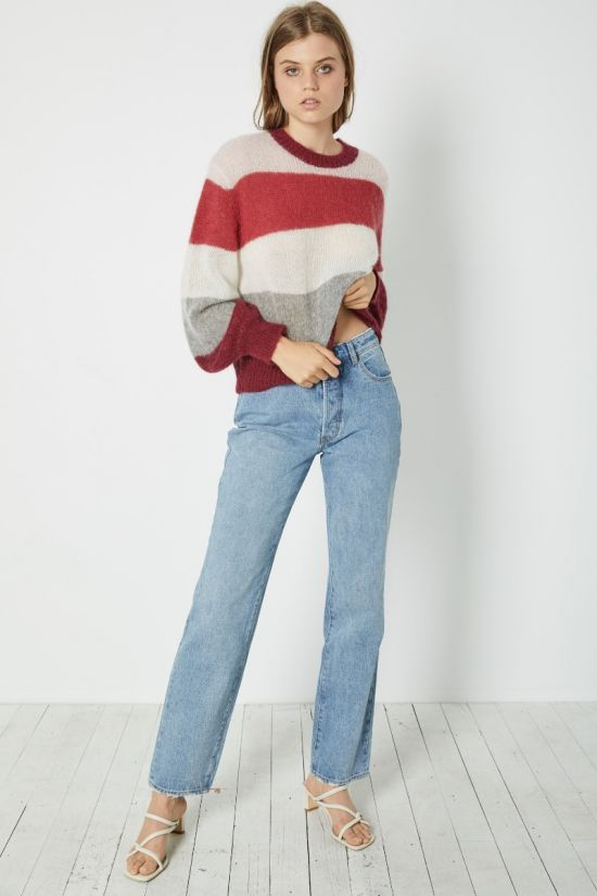 Rollas Ladies Gigi Slouch Stripe Sweater - Front