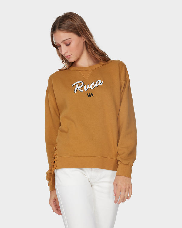 RVCA Ladies Lace Up Crewneck - Front