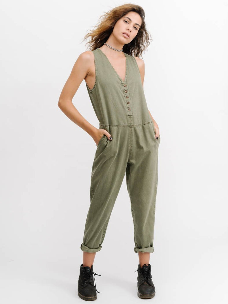Thrills Shadows Jumpsuit- Army Green