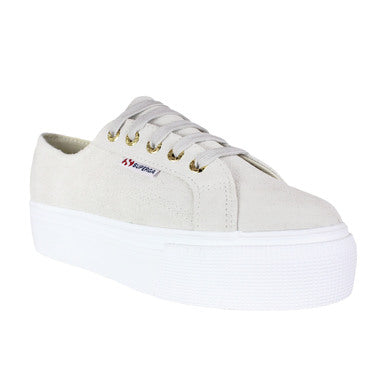 Superga Womens Suew Suede Platform Shoes- White/Cream