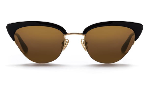 Sunday Somewhere Pixie Sunnies- Gloss Black/Brushed Yellow Gold