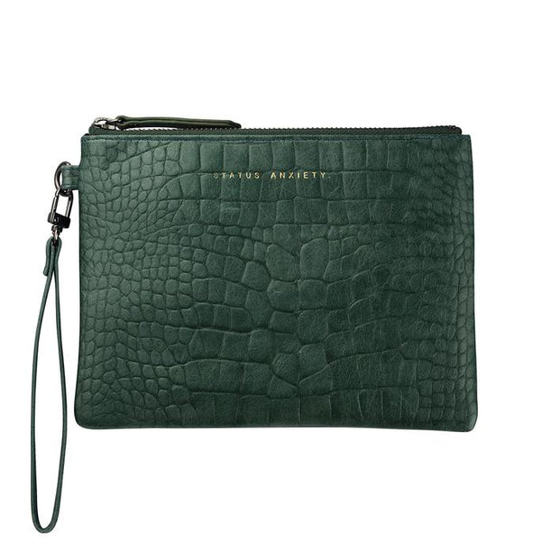 Status Anxiety Fixation Clutch- Teal Croc