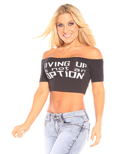 Giving Up Is Not An Option Off Shoulder Crop Top