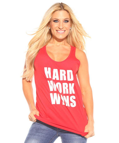 Hard Work Wins Super Loose Tank Red