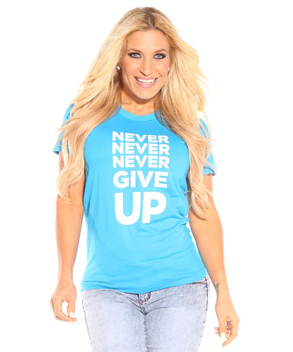 Never Give Up T-Shirt (Aqua)