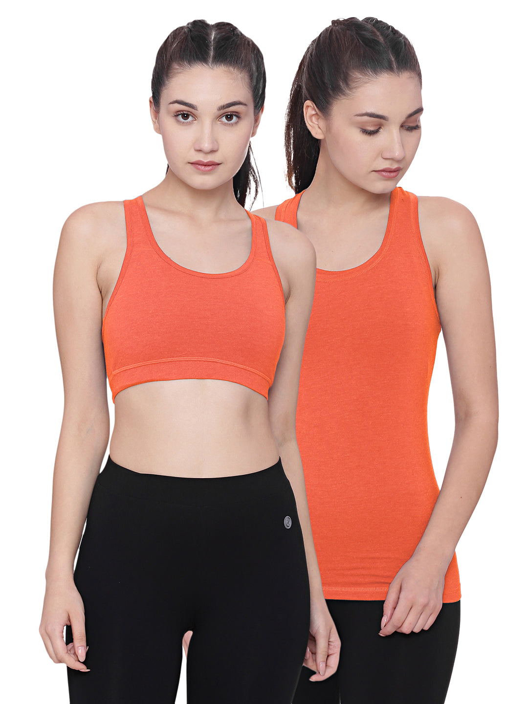 A model wearing an orange organic cotton sports bra