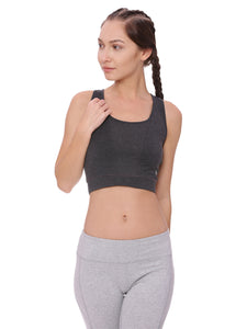 Model wearing an organic cotton longline sports bra
