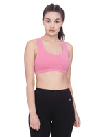 A light pink low impact sports bra, Fairtrade Certified