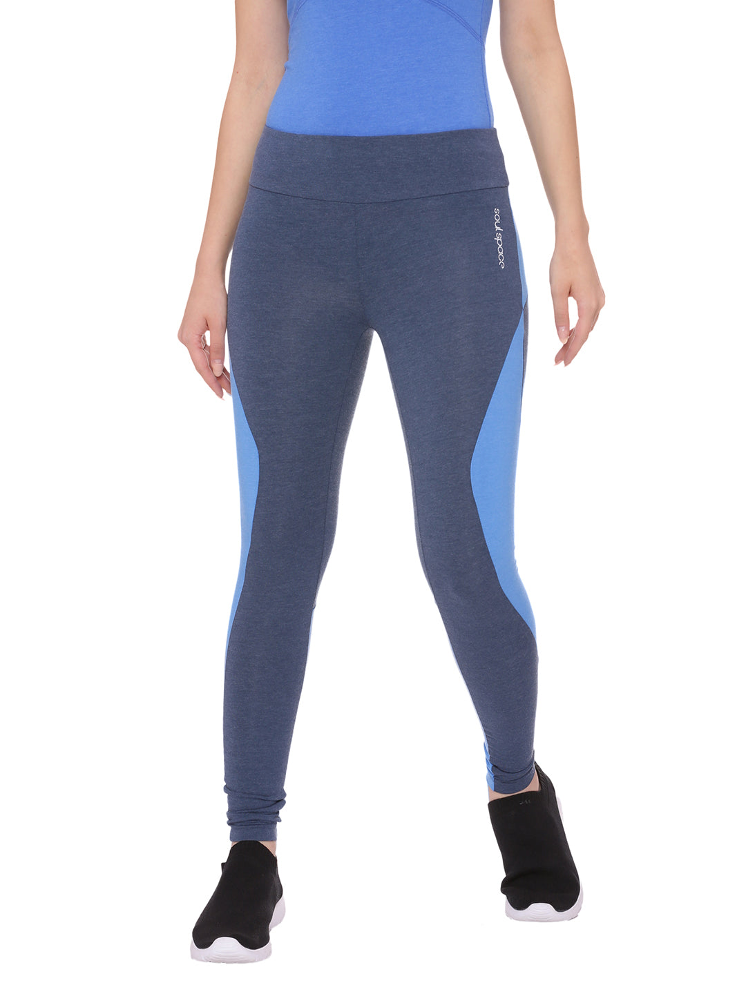 Women's organic leggings with blue accents