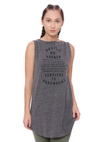 A model wearing a grey longline women's muscle tank top