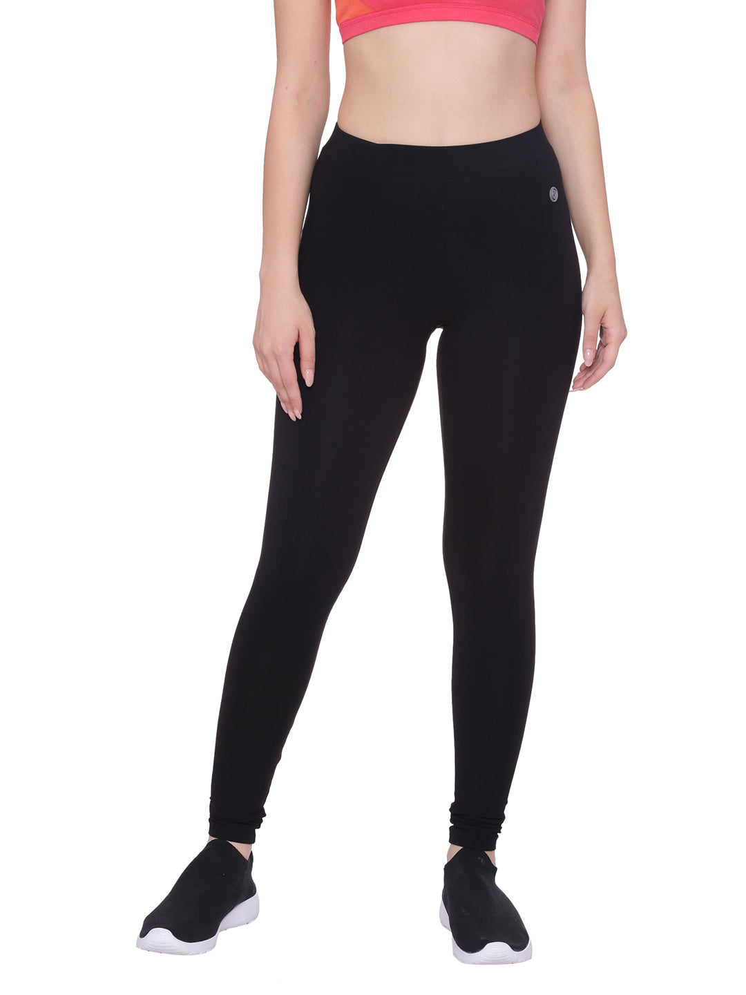 Black colored basic high waisted cotton leggings