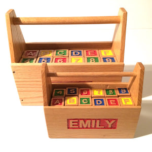 Custom wooden ABC blocks & box