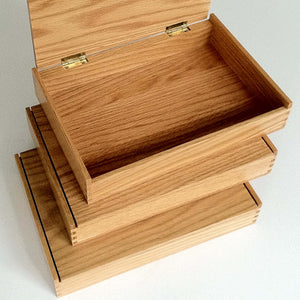 "Available now Oak box 10-3/8"" x 6-5/8"" x 1-3/8"""