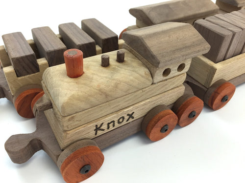 Custom wooden Toy Train & box & 18 wheeler