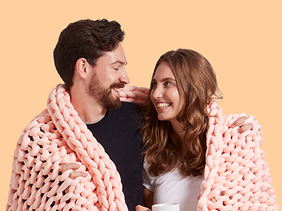 Couple with weighted blanket