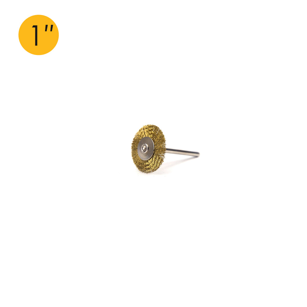 "1"" (25mm) x 3mm Shank Mounted Brass Wire Wheel Brushes"