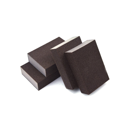 "2-5/8"" x 3-3/4"" x 1"" 4-Sided Manual Abrasive Blocks, Sanding Sponges, 240 Grit"