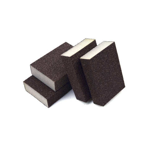 "2-5/8"" x 3-3/4"" x 1"" 4-Sided Manual Abrasive Blocks, Sanding Sponges, 80 Grit"