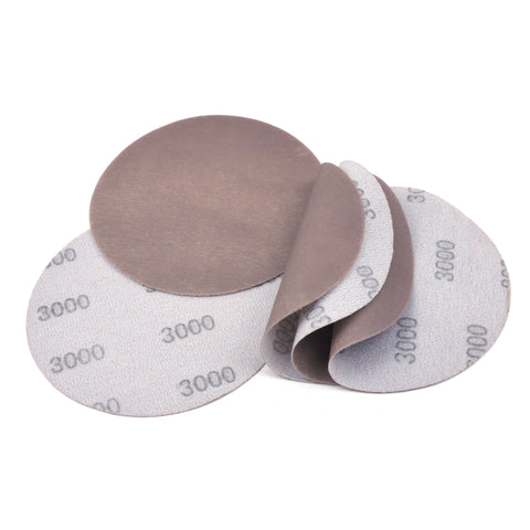 "5"" (125mm) 3000 Grit Flexible Hook & Loop Wet/Dry Auto Body Film Sanding Discs, 10 Discs"