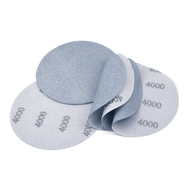 "5"" (125mm) 4000 Grit Flexible Hook & Loop Wet/Dry Auto Body Film Sanding Discs, 10 Discs"