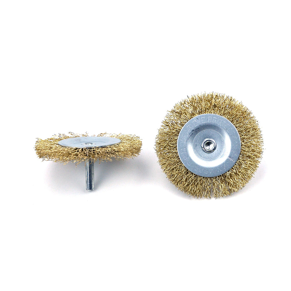 "3"" (75mm) x 6mm Mounted Shank 0.3mm Brass Plated Steel Wire Wheel Brushes"