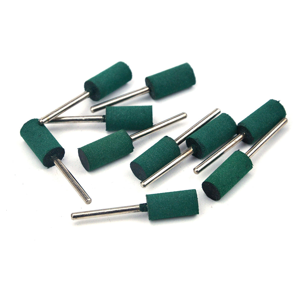 10mm x 3mm Mounted Shank Rubber Polishing Points Buffing Heads, Cylindrical