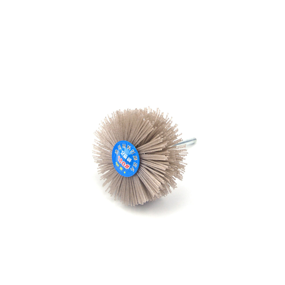 180 Grit 6mm Shank Mounted Nylon Wire Grinding Flower Head Wheel Brush for Woodworking
