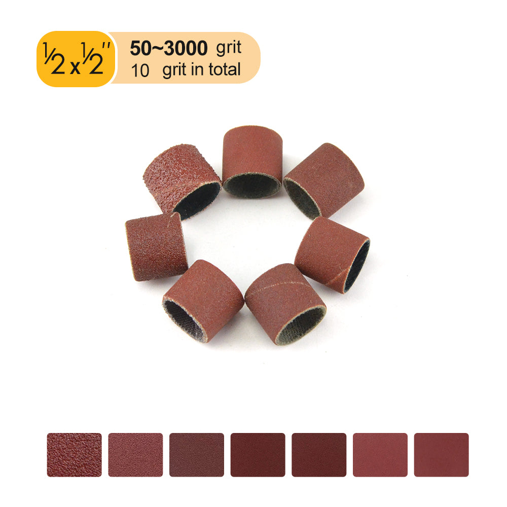 "1/2"" (12.7mm) x 1/2"" (12.7mm) Aluminum Oxide Sanding Ring Bands Spiral Wound Sanding Sleeves (80-600 Grit), 1 Band"