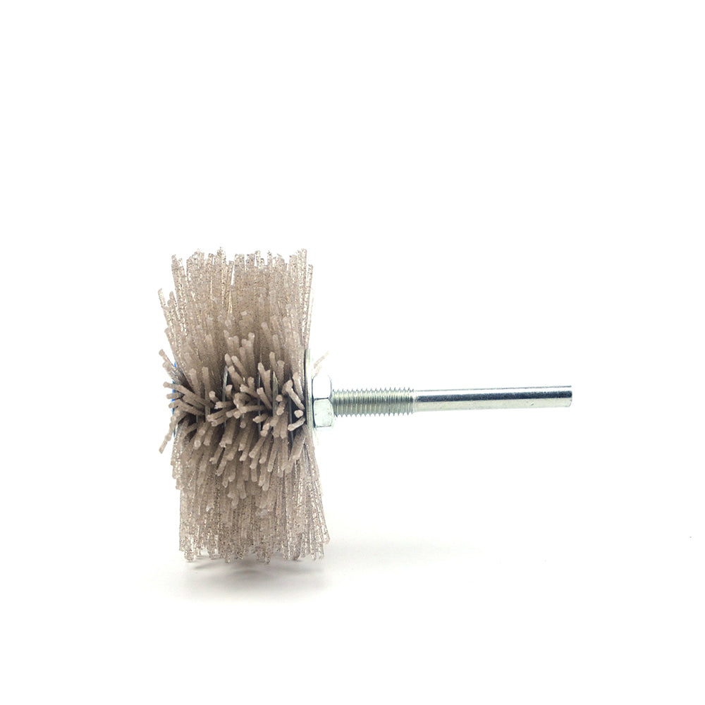 120 Grit 6mm Shank Mounted Nylon Wire Grinding Flower Head Wheel Brush for Woodworking