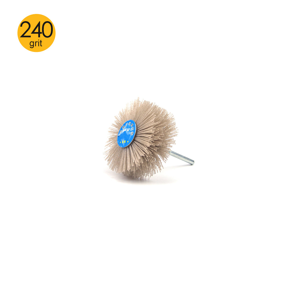 240 Grit 6mm Shank Mounted Nylon Wire Grinding Flower Head Wheel Brush for Woodworking