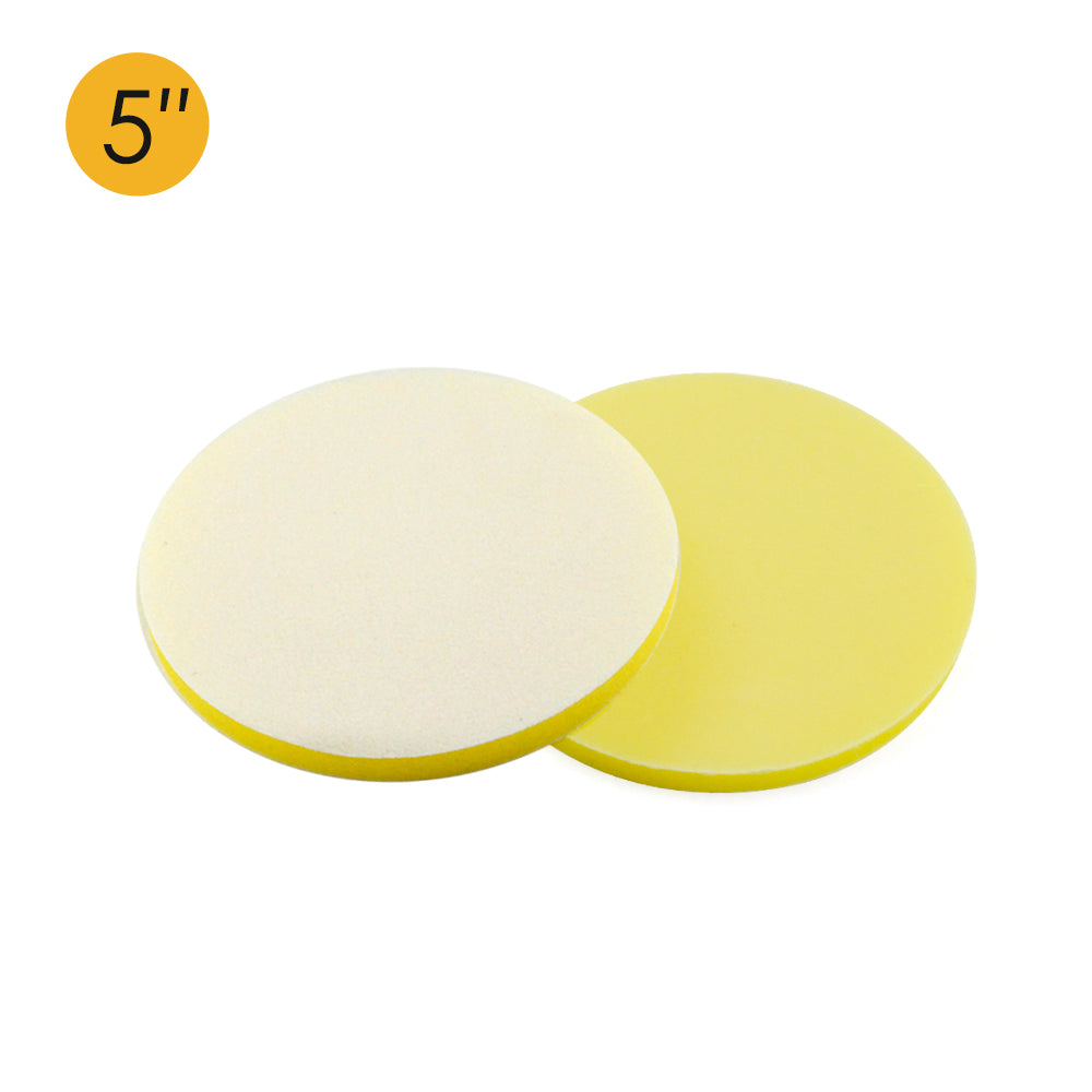 "5"" (125mm) Soft Sponge Yellow Flat Hook & Loop Surface Protection Interface Buffer Backing Pad"