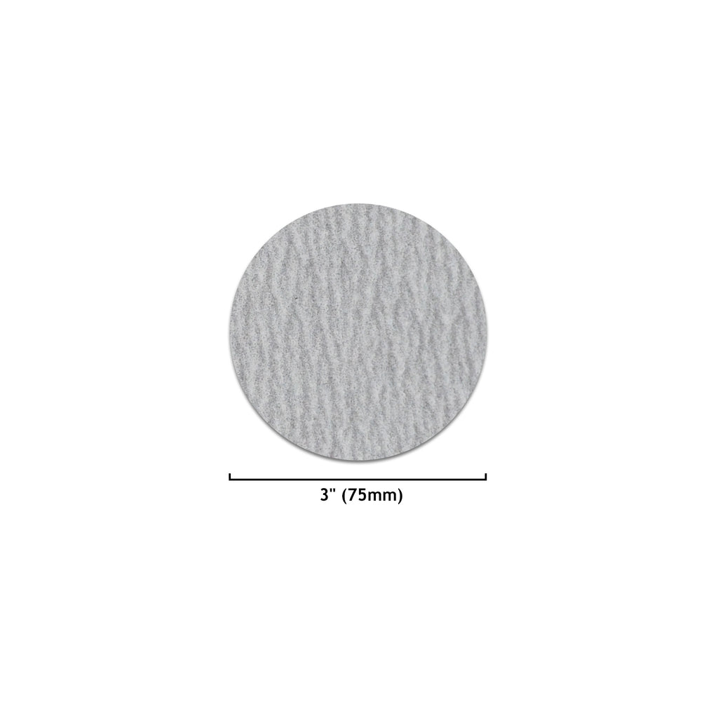 "3"" (75mm) White Dry Hook & Loop Sanding Discs (60-1000 Grit), 1 Disc"