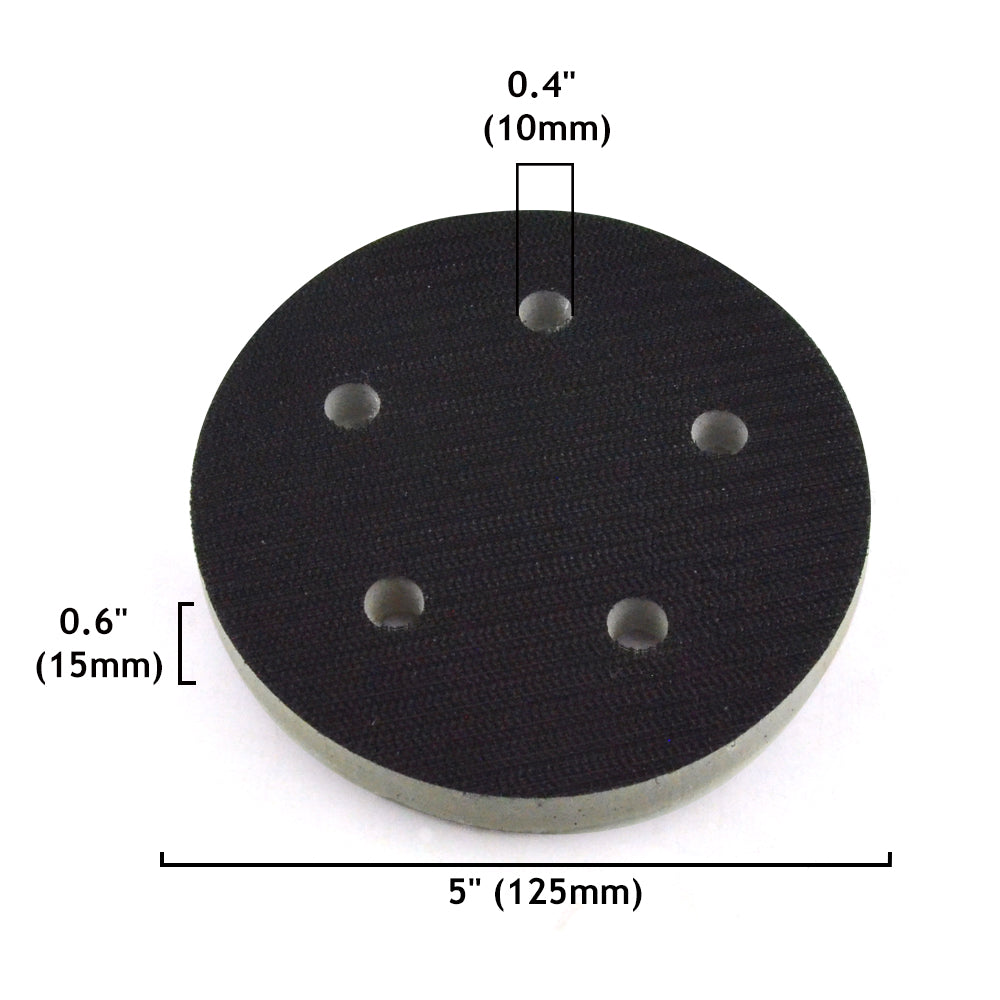 "5"" (125mm) 5-Hole High Density(Stiff) Sponge Hook & Loop Surface Protection Interface Pad"