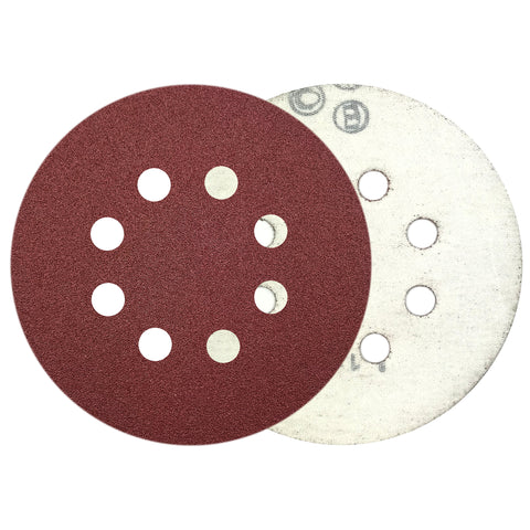 "5"" 100 Grit 8-Hole Red Grain Hook & Loop Sanding Discs, 10 Discs"