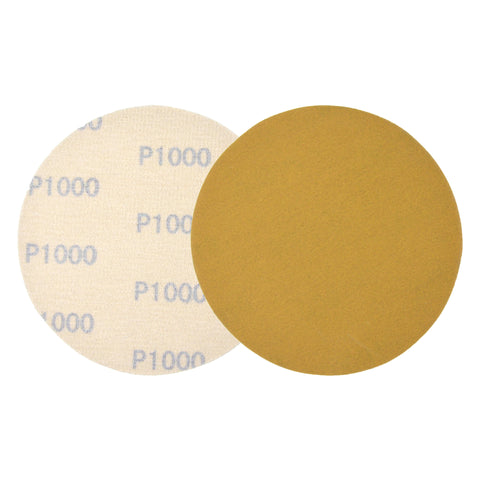 "5"" (125mm) 1000 Grit Yellow Hook&Loop Sanding Discs for Dry Sanding, 10 Discs"
